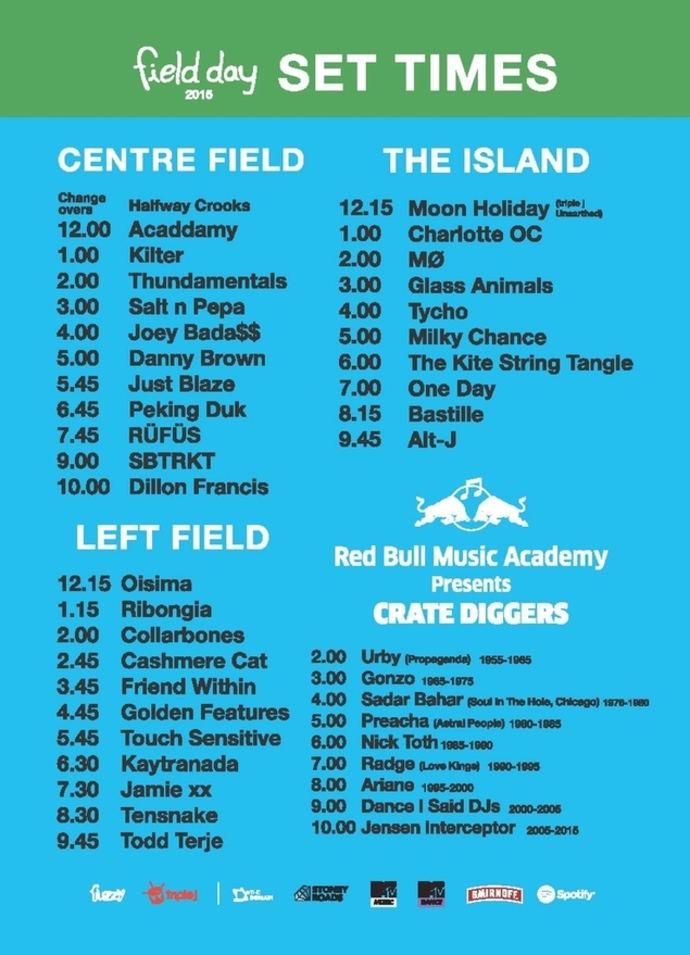 Field Day 2015 - Set Times