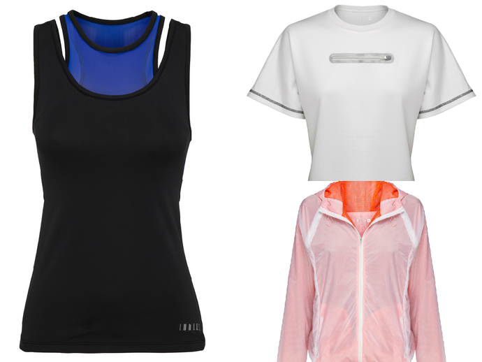 Clockwise from top right: Crop Tee ($59), Running Jacket ($69), and Integrated Tank ($49).
