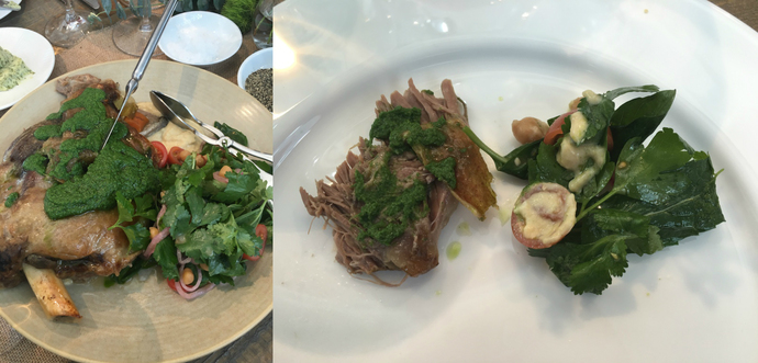 Moran Family Lamb served with a Hummus and Tomato Salad with Mint Salsa